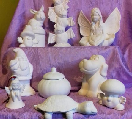 Fun ceramic items ready to be painted and decorated